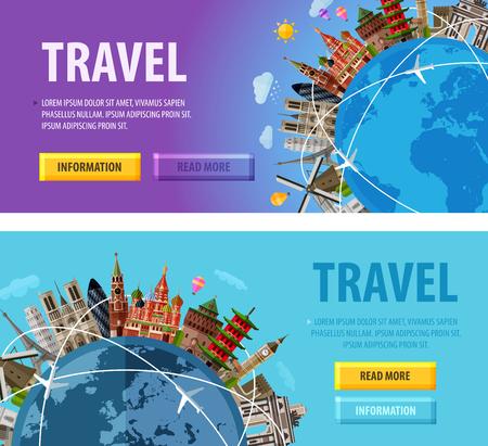sights: historic architecture and the globe. vector illustration Illustration