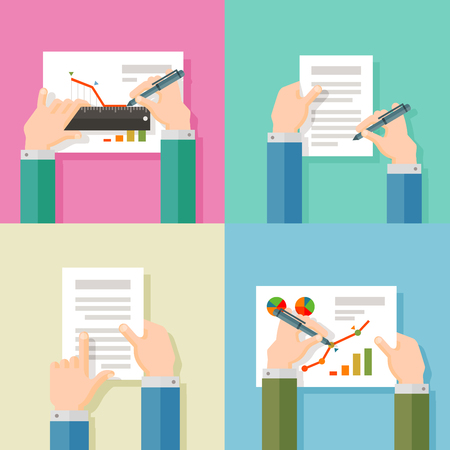 treaty: business people in the office on a white background. vector illustration