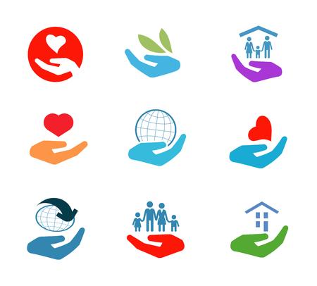 Eine Reihe von farbigen Icons auf einem weißen Hintergrund. Vektor-Illustration