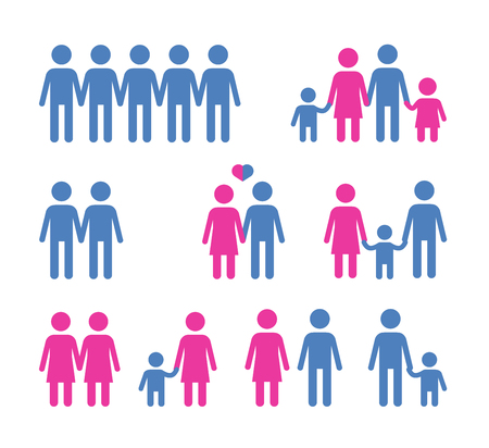 char: people. set of icons on white background. vector illustration
