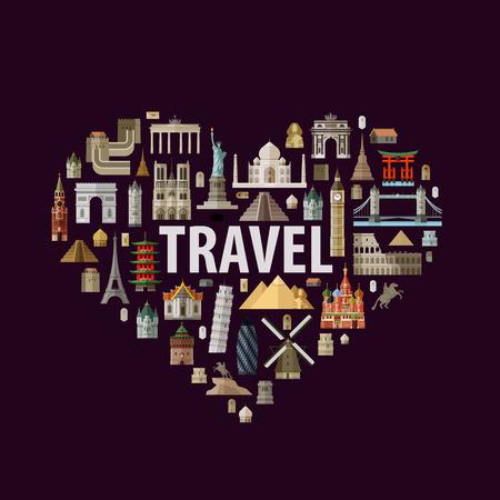 logo voyage: architecture historique dans la forme de coeur sur un fond blanc. illustration vectorielle