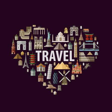 tours: historic architecture in the form of heart on a white background. vector illustration