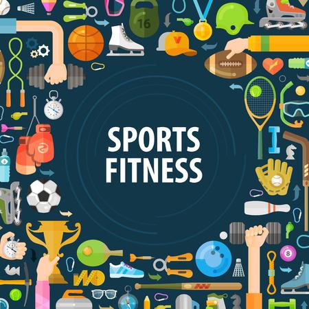 icono deportes: los deportes de conjunto de iconos de colores sobre un fondo oscuro. ilustración