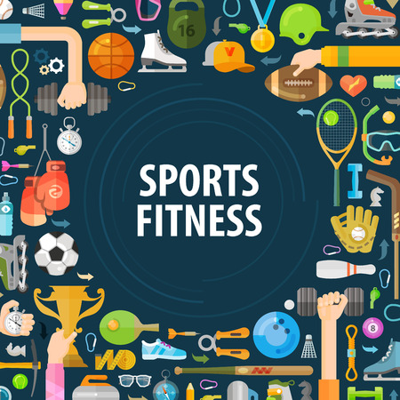 sports set of colored icons on a dark background. illustration Illustration