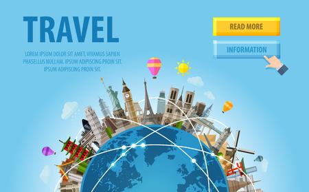 여행: 세계와 세계의 유명한 건축물. 삽화 일러스트