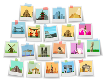 viaggi: città del mondo su sfondo bianco. illustrazione vettoriale