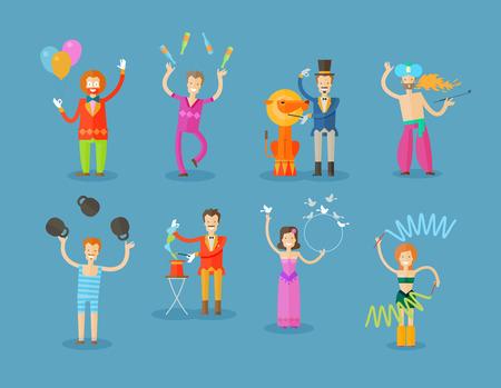 payasos caricatura: el circo sobre un fondo azul. ilustración vectorial