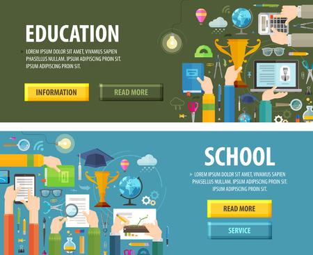 akademický: školu a vysokou školu. sada barevnými ikonami. vektorové ilustrace