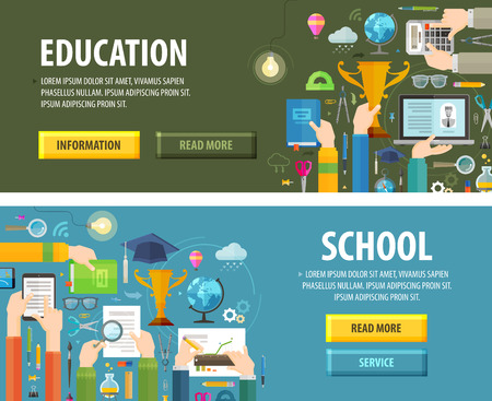 onderwijs: school en College. een set van gekleurde pictogrammen. vector illustratie Stock Illustratie