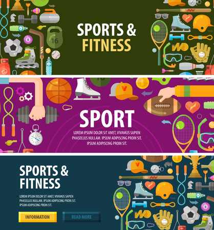 fitness: sports and fitness on a dark background. vector illustration