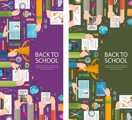 aprendizaje: la escuela y la enseñanza en un fondo oscuro. ilustración vectorial Vectores