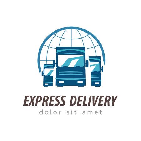 logo informatique: livraison. camion sur un fond blanc. illustration vectorielle Illustration