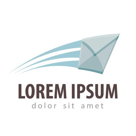 the flying envelope on a white background. vector illustration Vettoriali