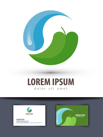 leaf water: ecology. water and nature on a white background. vector illustration