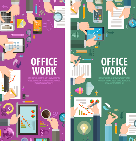 secretary: work in the office on a colored background. vector illustration