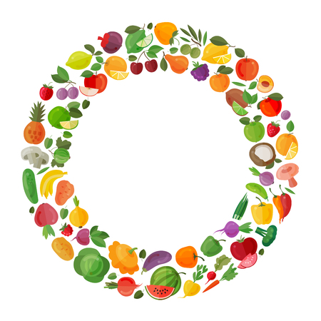 fruit background: fresh fruit and vegetables on white background Stock Photo