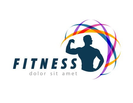 male body: fitness and sports on a white background. vector illustration
