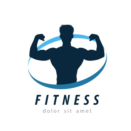 body silhouette: fitness and sports on a white background. vector illustration