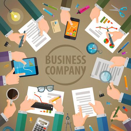 conversaciones: negocio. trabajar en la oficina. ilustración vectorial Vectores