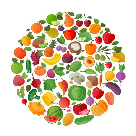 char: food. fruits and vegetables on a white background. vector illustration