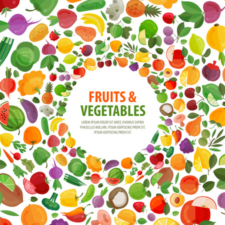 grower: fresh fruits and vegetables on a white background. vector illustration Illustration