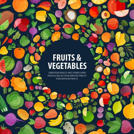 gastronome: food. fruits and vegetables on a dark background. vector illustration Illustration
