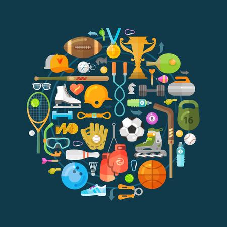 ICONO: Iconos de deporte de conjunto sobre un fondo oscuro. ilustración vectorial