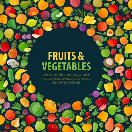 新鮮な果物や野菜の暗い背景。ベクトル図