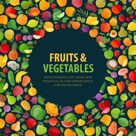 fresh fruits and vegetables on a dark background. vector illustration Ilustração