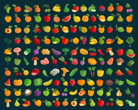 collections: fruits and vegetables icons set. vector illustration
