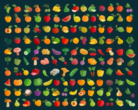verduras: frutas y hortalizas iconos conjunto. ilustración vectorial Vectores
