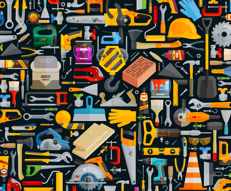 set of working tools on the dark background. vector illustration