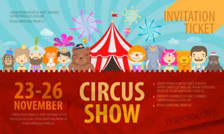 payasos caricatura: Festival. artistas de circo y los animales. ilustración vectorial Vectores