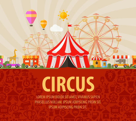 circus ticket: Festival. circus performers and animals. vector illustration Illustration