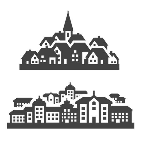 都市。白の背景上のアイコンのセットです。ベクトル図