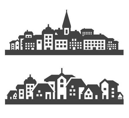 hamlet: city. set of black icons on gray background. vector illustration