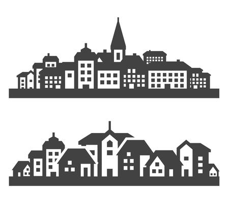 silhouette maison: ville. ensemble d'icônes noires sur fond gris. illustration vectorielle Illustration