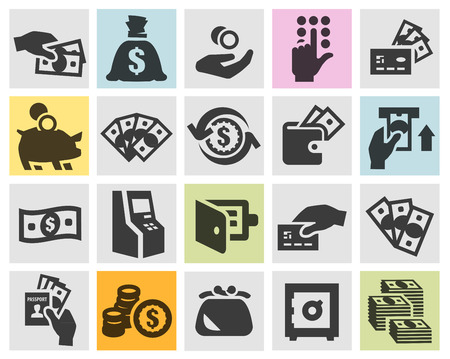 databank: money. Icons on a gray background. vector illustration