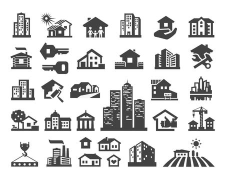 země: budova. Sada ikon na bílém pozadí. vektorové ilustrace Ilustrace