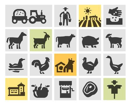 tillage: granja. Iconos en un fondo gris. ilustraci�n vectorial