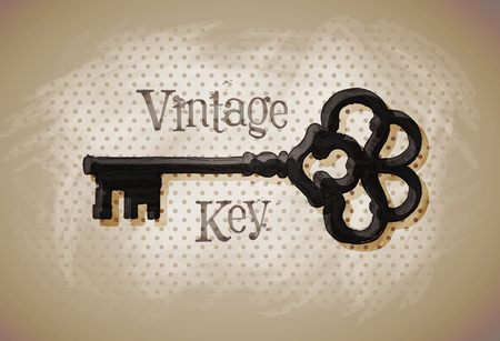 oude sleutel: old key on a dark background. sketch. vector illustration