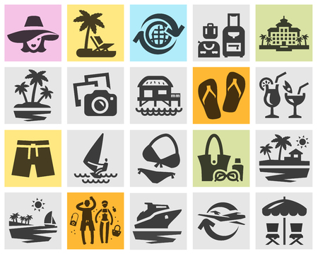 sandalias: viaje. Los iconos en un fondo gris. ilustración vectorial Vectores