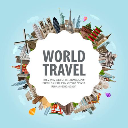 paz mundo: viaje. arquitectura histórica en un círculo. ilustración vectorial