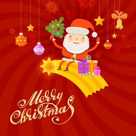 christmas tree illustration: Santa Claus and Christmas tree. vector illustration