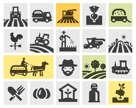 plow: farm. set of icons on the black background. vector illustration