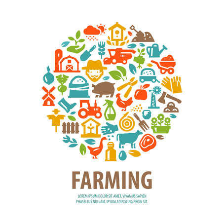agribusiness: farm. Set of icons on a white background. vector illustration