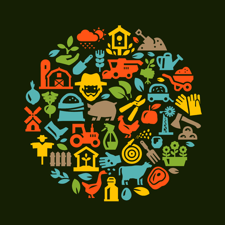 hamlet: farm. Icons on a dark background. vector illustration