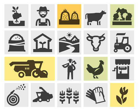 herdsman: farm. Icons in the background. vector illustration