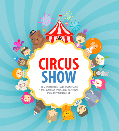 performers: fun fair. circus performers and animals. vector illustration