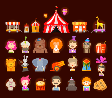 circus ticket: fun fair. circus performers and animals. vector illustration